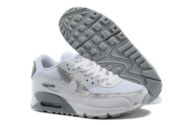 on sale f260e c0018 ... nike air max pas cher femme air max 90 blanche et gris femme chaussure  pas cher